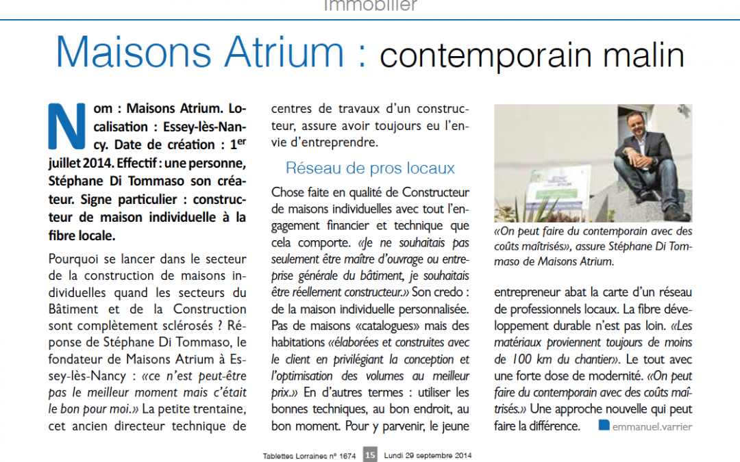 Maisons Atrium : contemporain malin