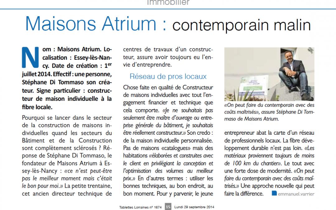 Maisons Atrium : contemporain malin
